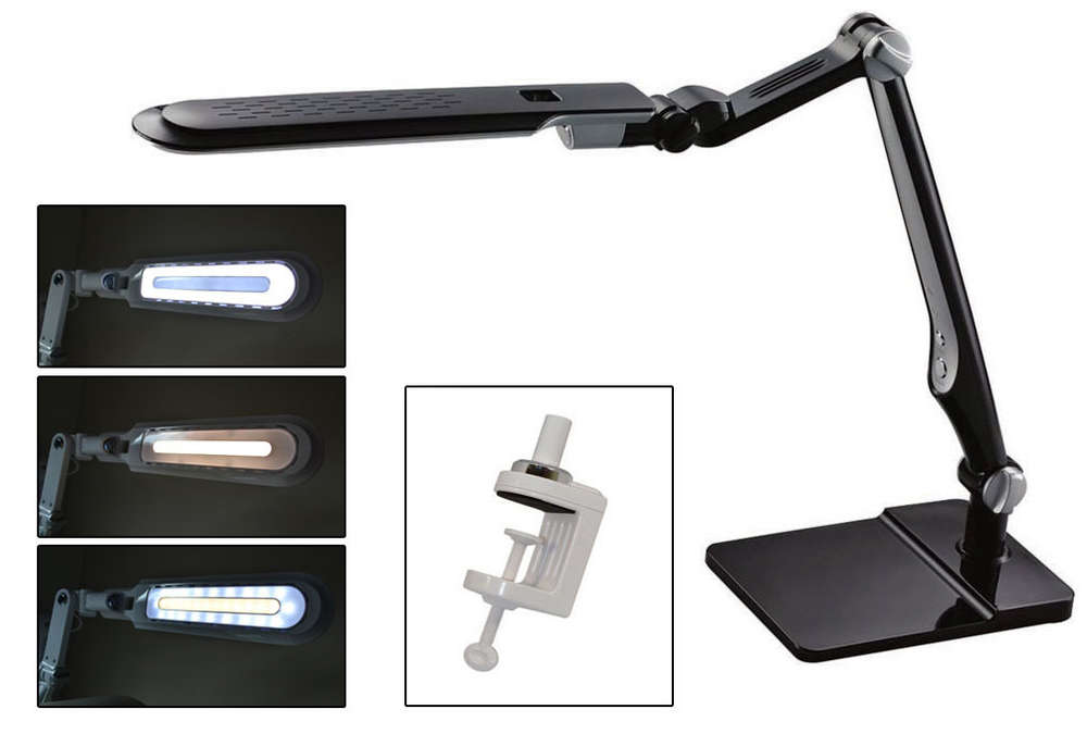 Black LED Lamp with Double-Reach Clamp