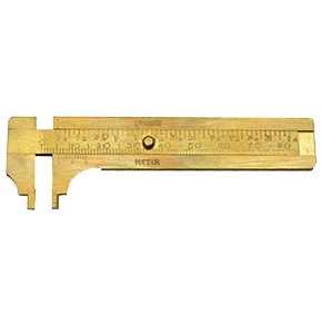 Brass Sliding Gauge with parts tray, 35.150